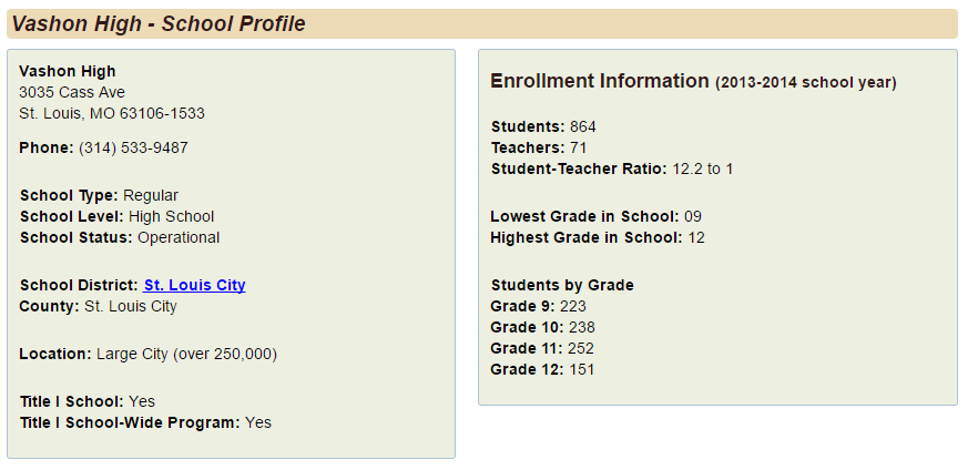 Image 3. School Profile page.