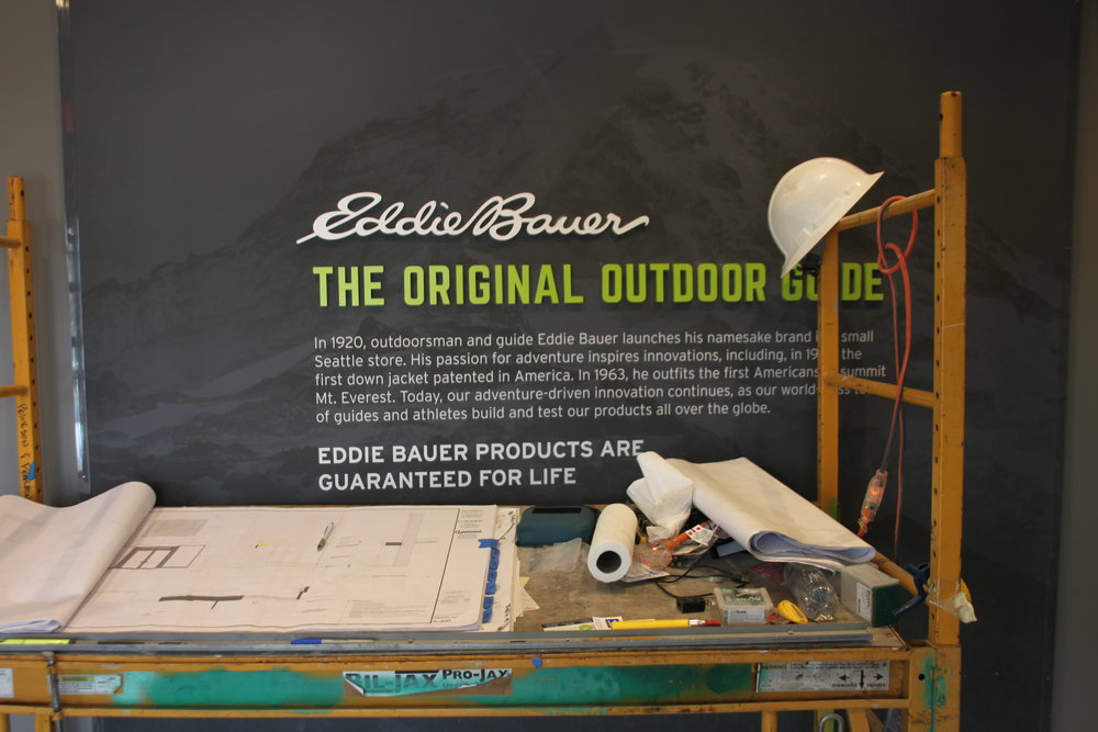 Painters Inc. painting interior of Chicagoland Eddie Bauer location