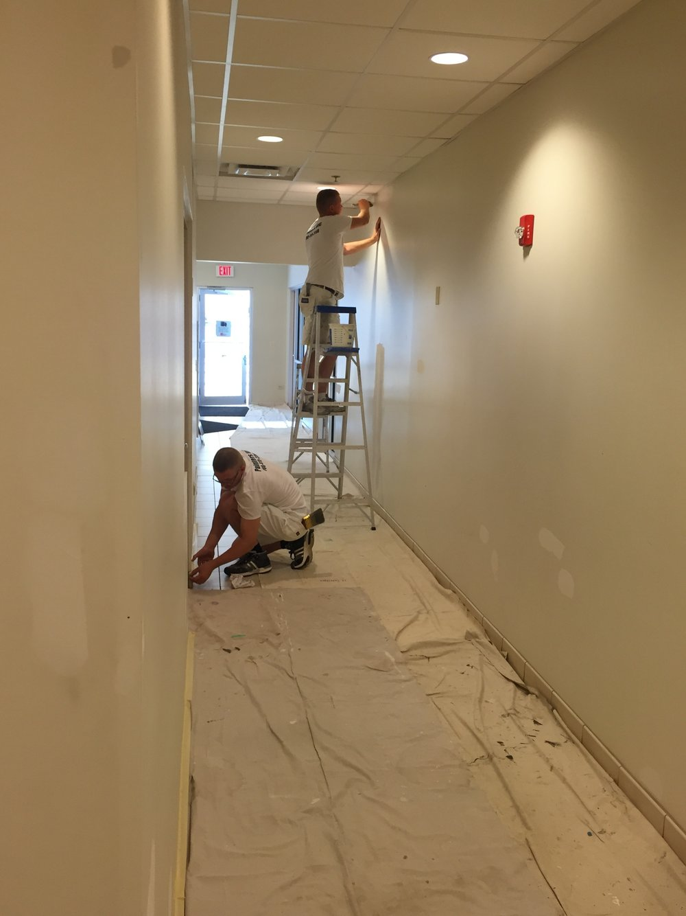 Painters Inc. team painting the interior walls of a Chicagoland healthcare facility
