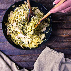 Pesto Pasta with Chicken and Parmesan, by The Wicked Noodle