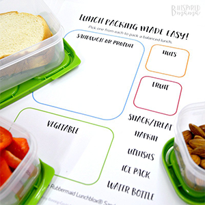 Packed Lunch Printable, B-Inspired Mama