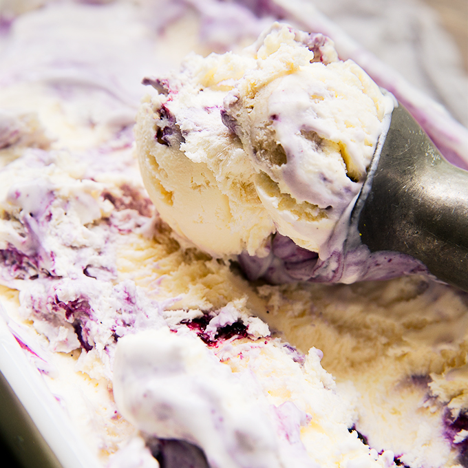 Blueberry Pie No-Churn Ice Cream, by Amy in the Kitchen