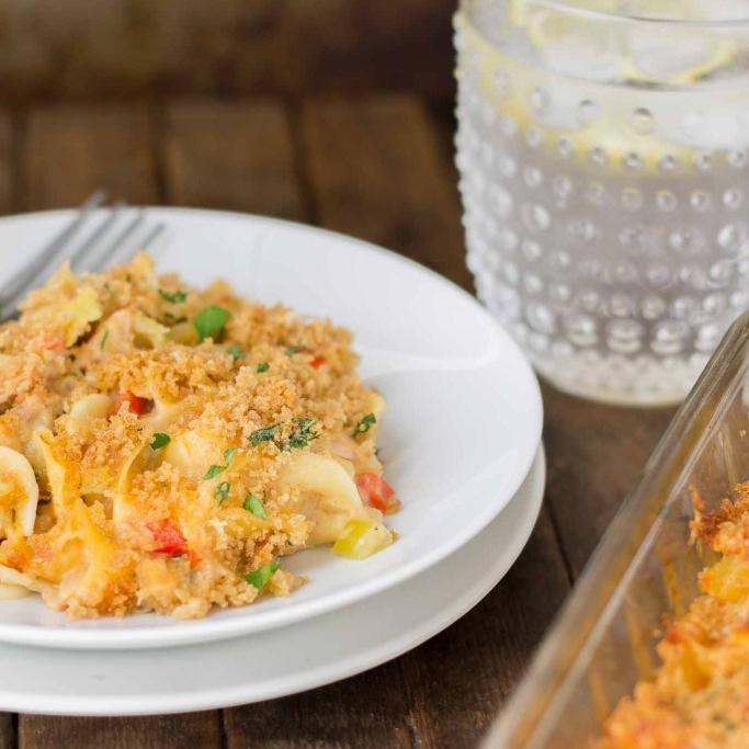 Lightened Up Cheesy Tuna Noodle Casserole