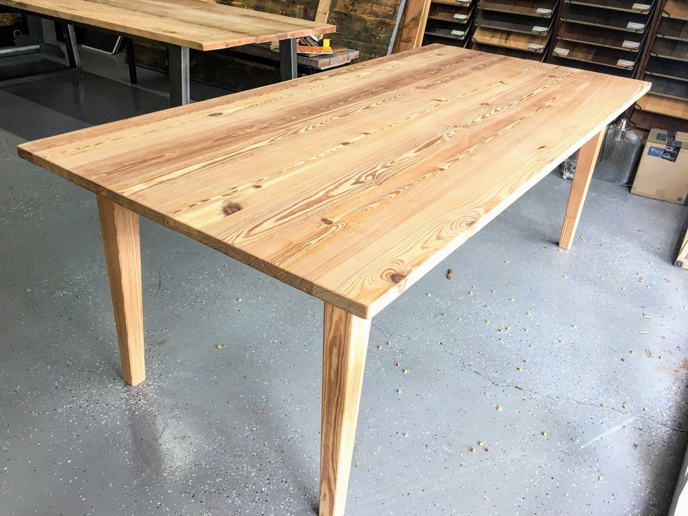 Antique heart pine 7' table  |   unfinished