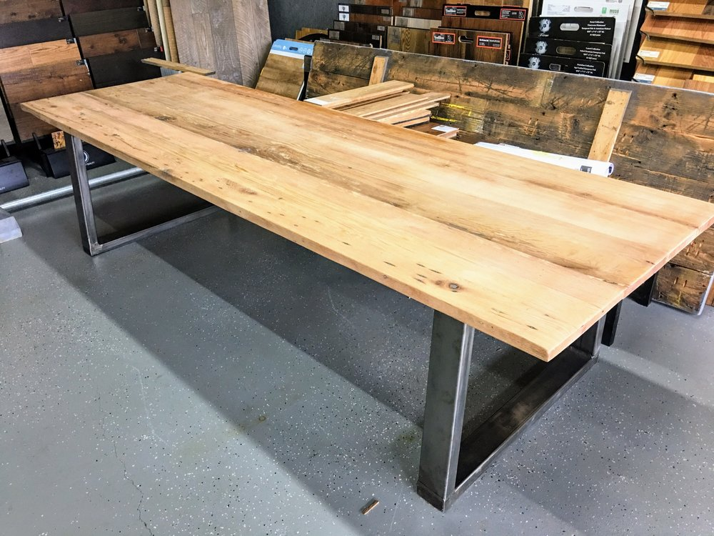 character oak 10' table  |  metal base unfinished