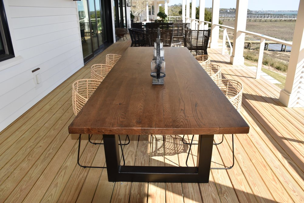 white oak 8' exterior table - custom metal base