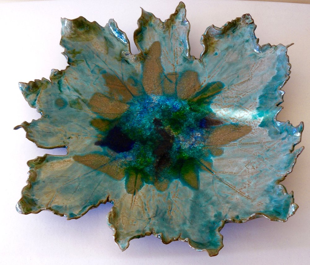 "Ceramic and Glass Flower Bowl, Ceramic and Glass, 18"" x 18"" x 4"""