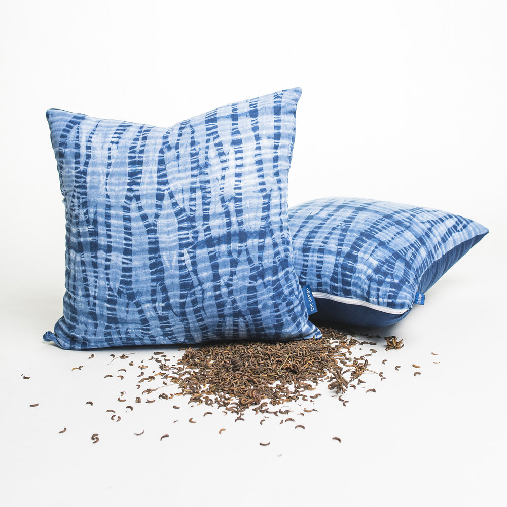 "Arashi Pillows, Indigo and Linen, 20"" x 20"""