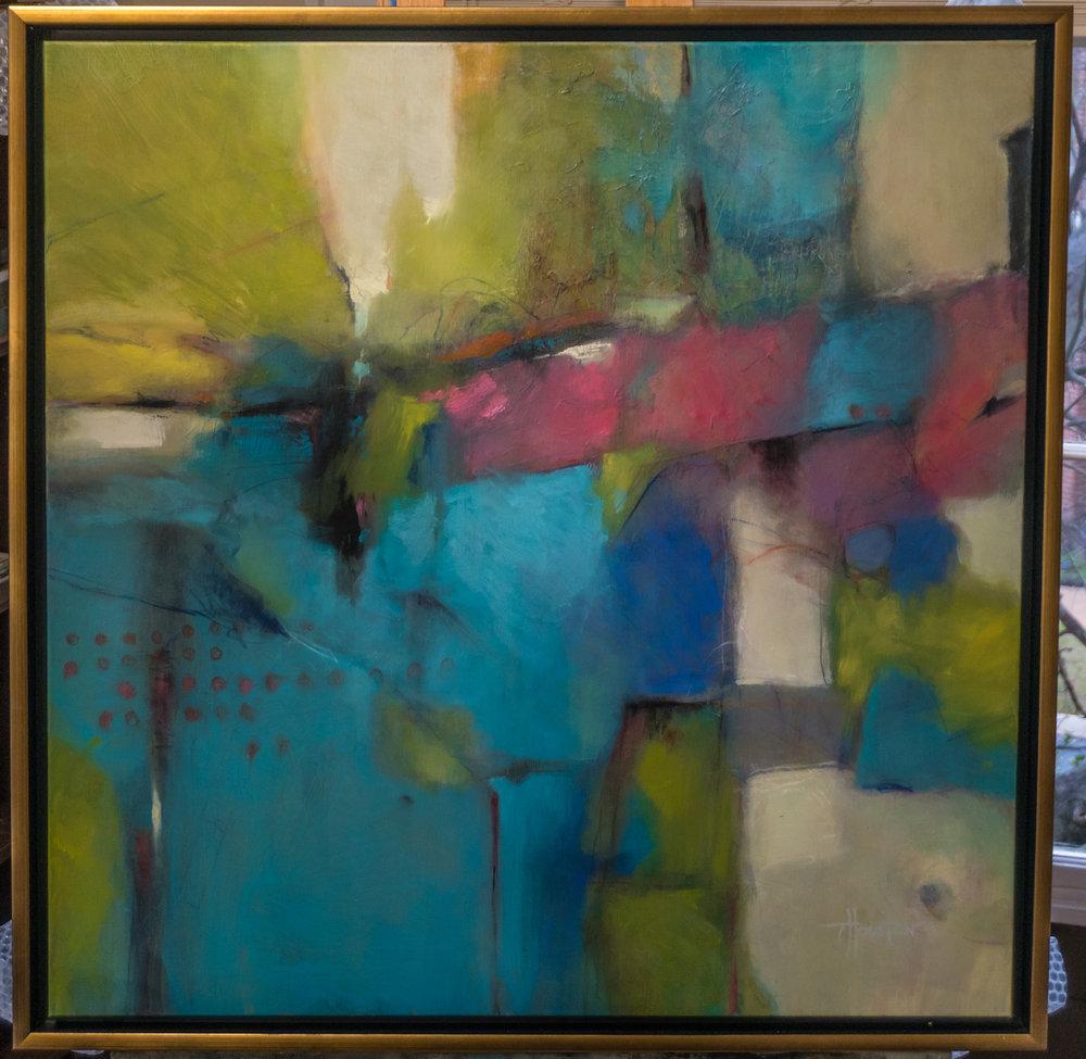 "The Bridge, Oil on Canvas, 36"" x 36"""