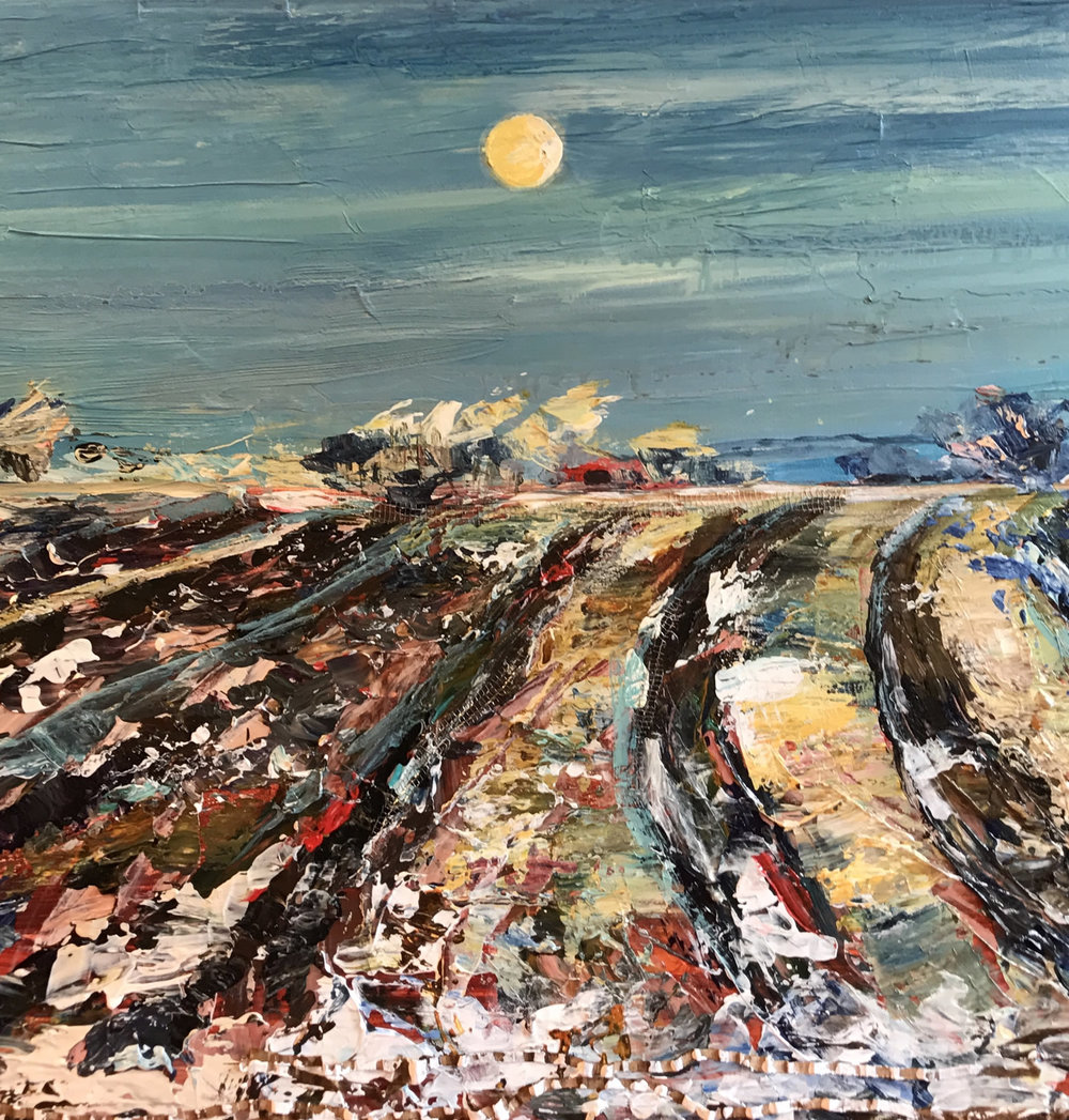"The Moon of Wintertime, Acrylic with Collage, 30"" x 40"""