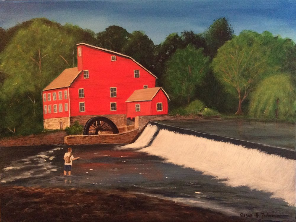 "Red Mill, Acrylic, 18"" x 24"""