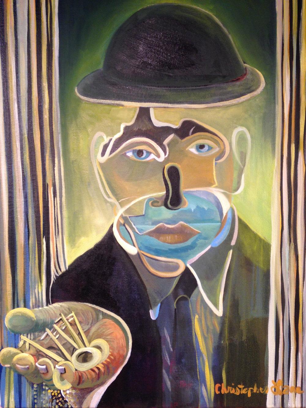 "Self-Portrait, Oil on Canvas, 16"" x 20"""