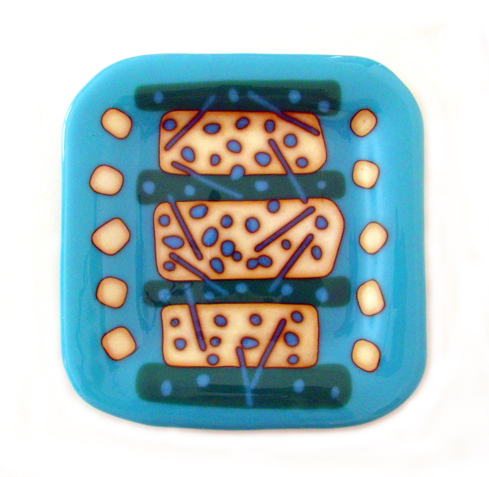 "Aqua Plate Square, Fused Glass, 10"" x 10"""