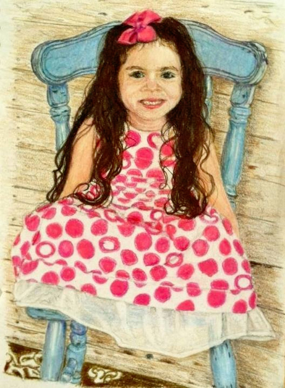 "Polka Dot Princess, Prismacolor on Paper, 10"" x 8"""