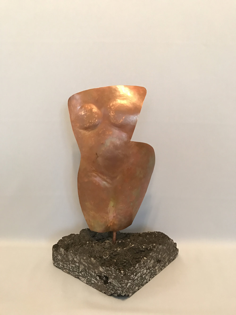 "Curving Torso, Copper on Asphalt, 15"" x 10"" x 6"""