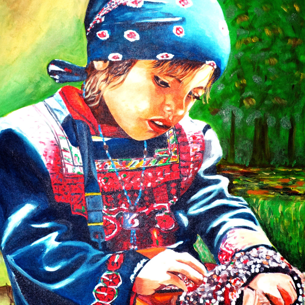 "Girl Selling Beads, Acrylic on Canvas, 30"" x 24"""