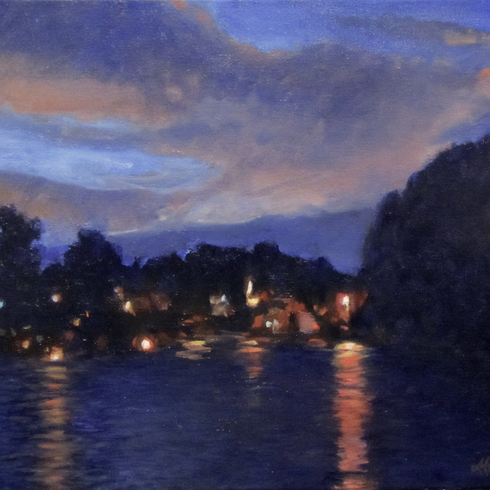 "Santee Blue Hour, Oil on Canvas, 11"" x 14"""