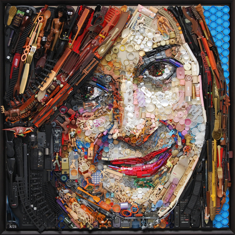 "Portrait of an Artist, Assemblage, 48"" by 48"""