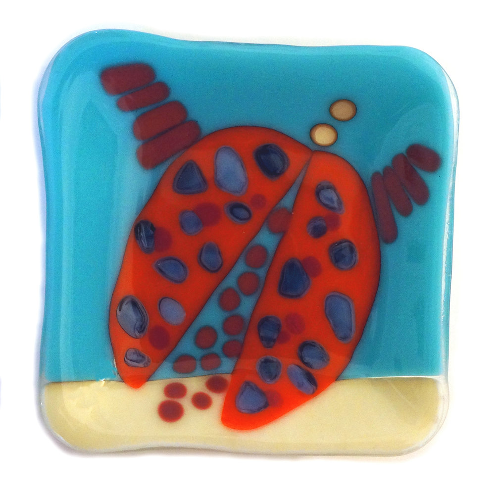 "CeCe Plate, Fused Glass, 8"" x 8"""