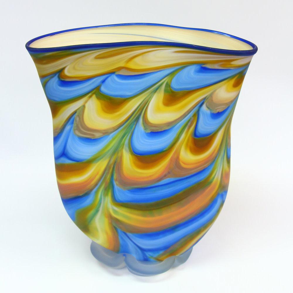 "Blown Glass Vase, Glass,14"" x 12"" x 5"""