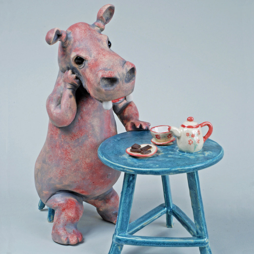 "Hippo Tea Time, High Fire Clay, 12"" x 10"" x 10"""