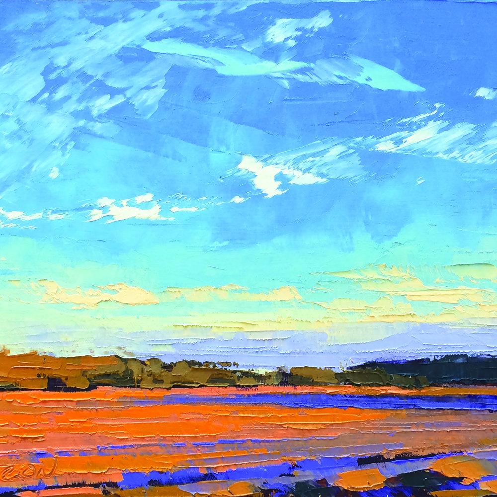 """Fields in Fall Light, Oil on Panel, 5"""" x 7"""""""