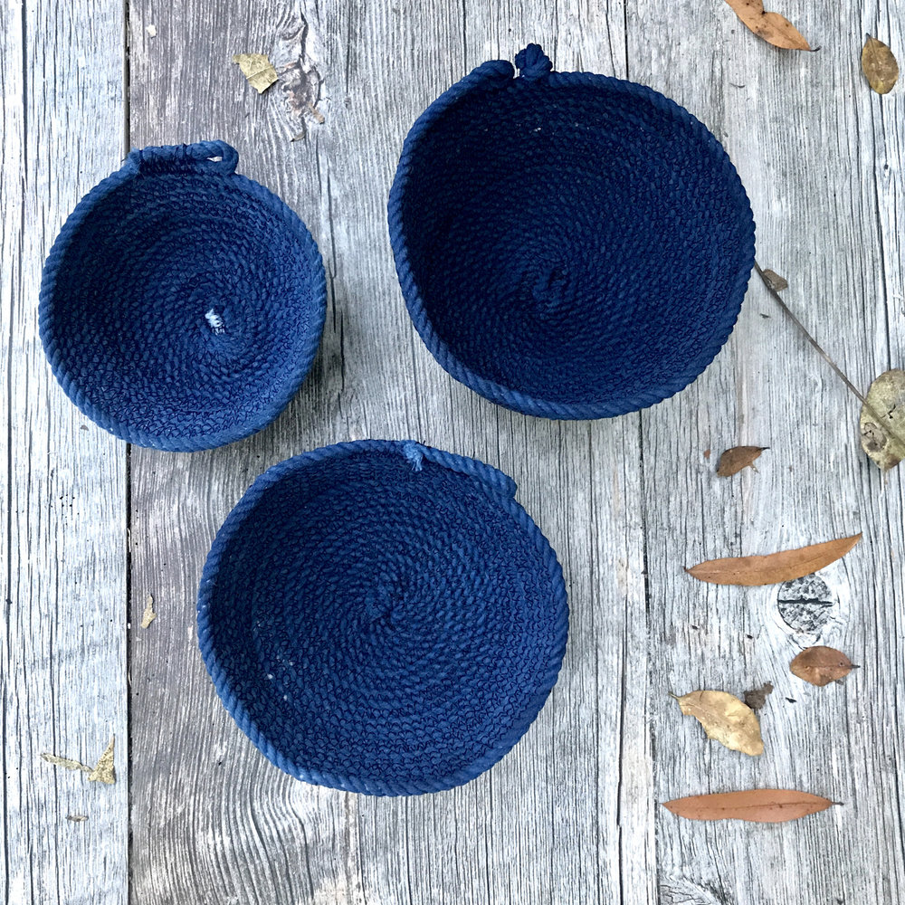 "Indigo Cotton Bowls, Textile, 4"" x 4"" x 2"""