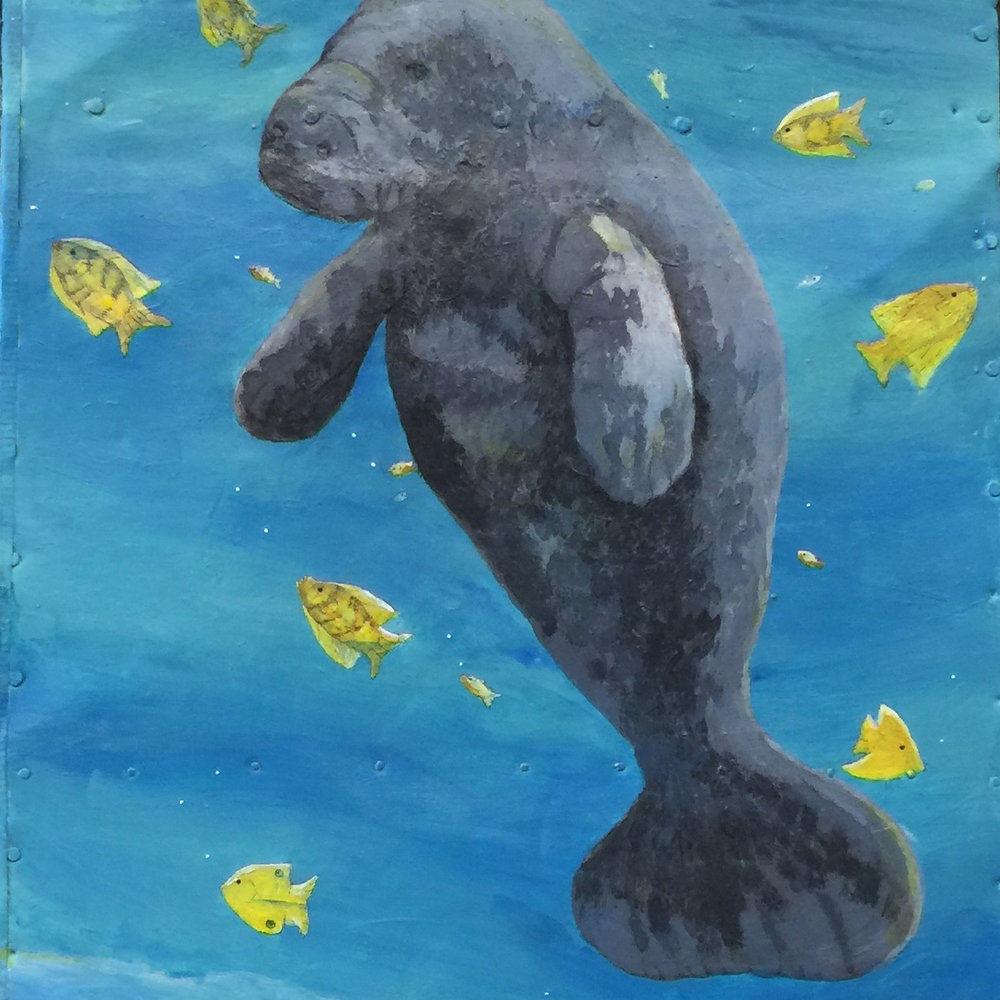 "Manatee and Green Turtle (Endangered Species Series), Acrylic on Found Metal, 24"" x 48"""