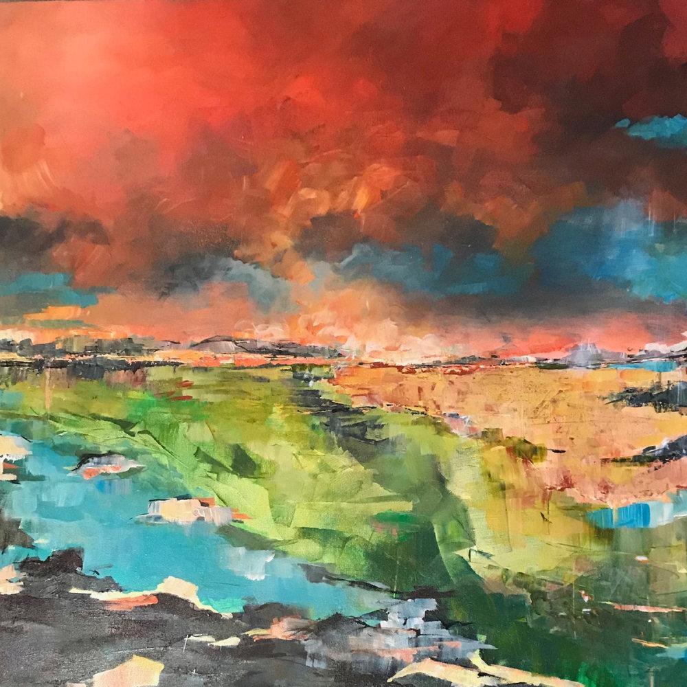 """Scarlet Sky, Acrylic, 36"""" x 36"""""""