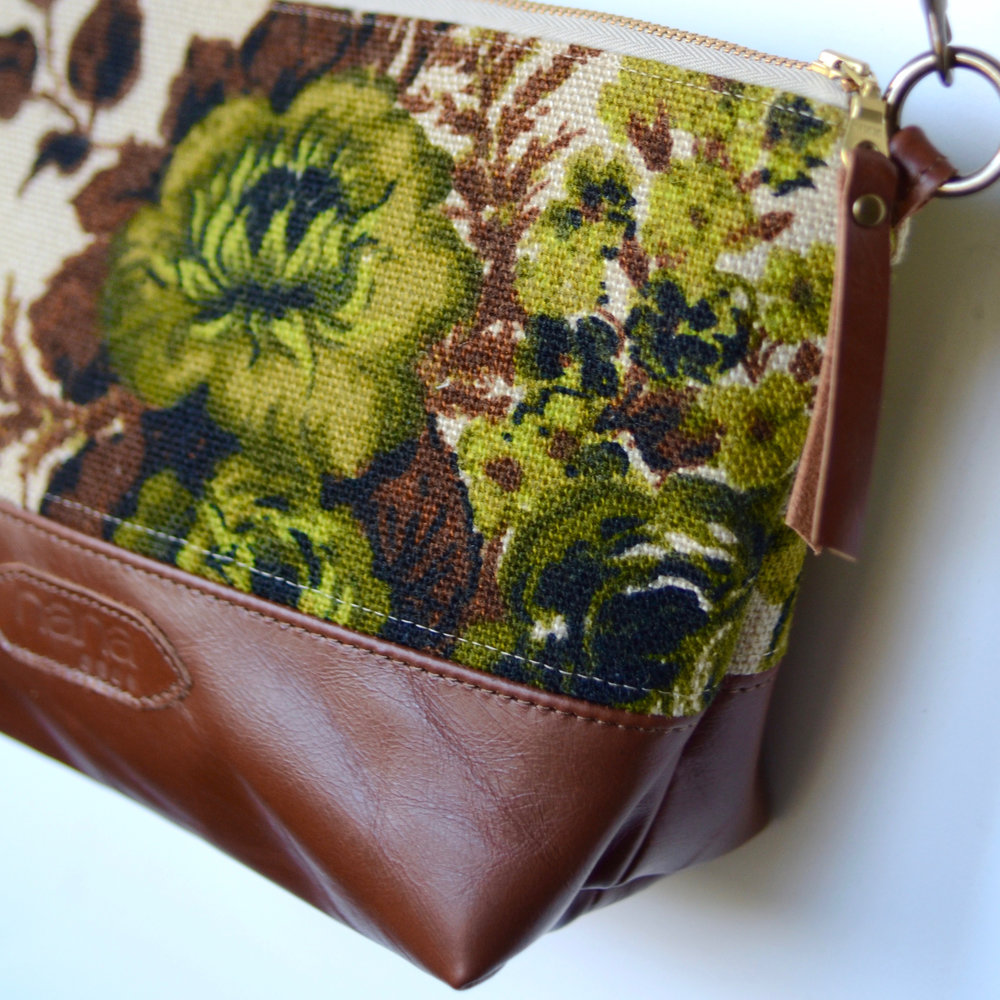 "Vintage Fabric + Leather Handbag, Textile, Leather and Hardware, 7.5"" x 12"""