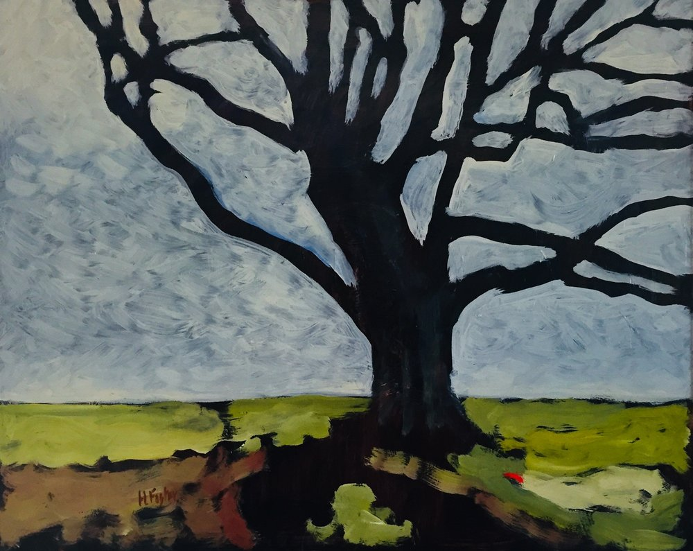"The Climbing Tree, Oil on Board, 16"" x 20"""