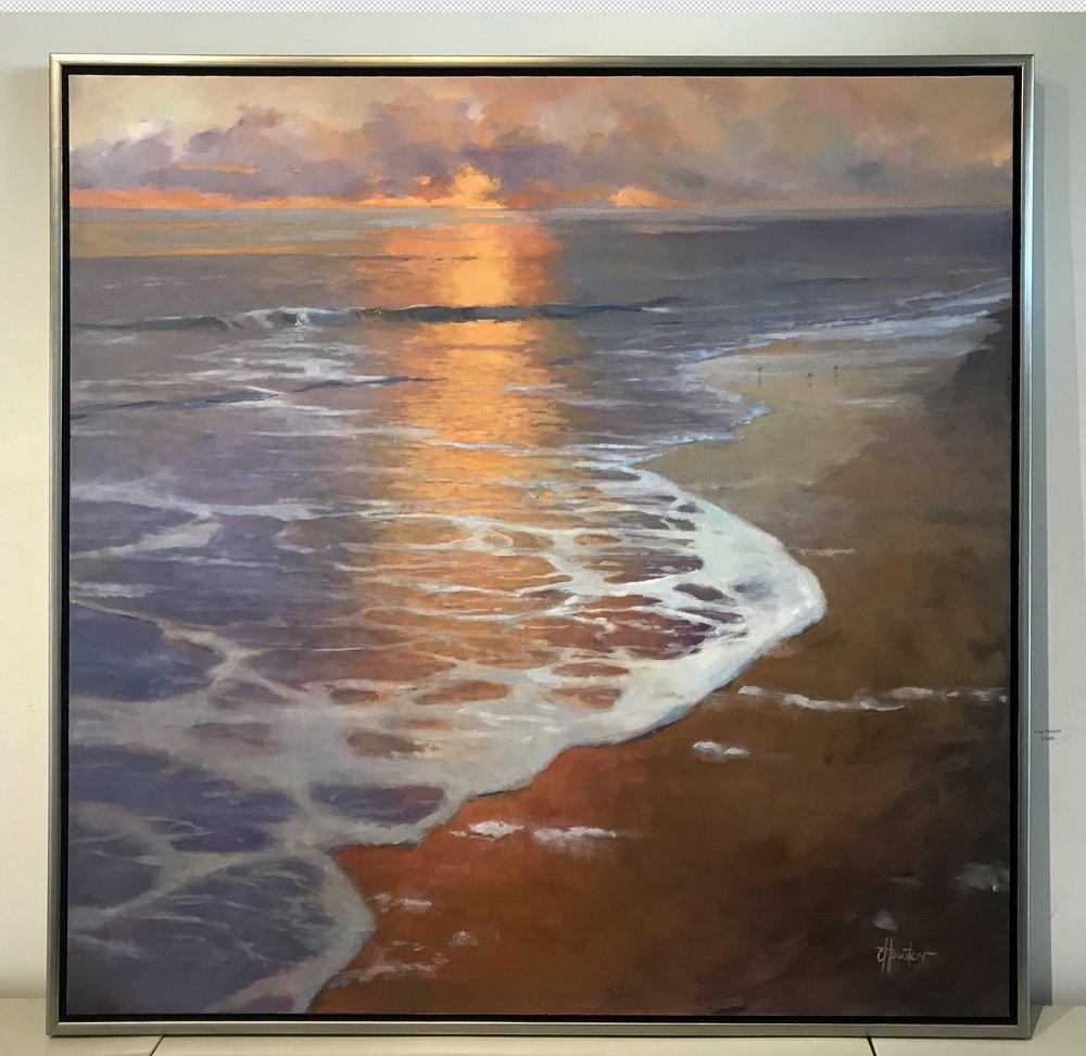 "Sandpipers at Dusk, Oil, 50"" x 50"" (framed)"