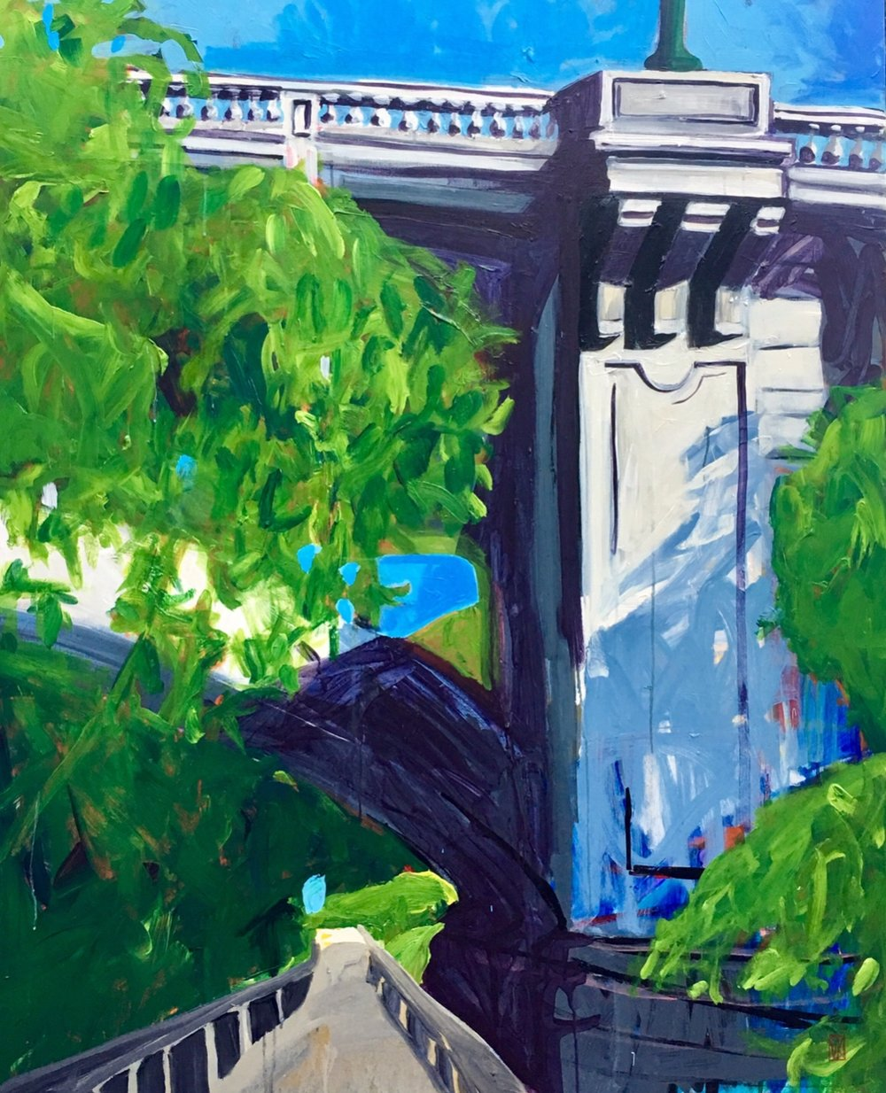 "Gervais Street Bridge, Acrylic, 48"" x 60"""