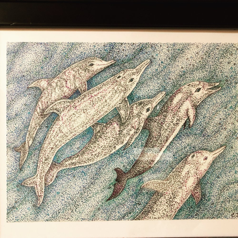 "A Family of Dolphins - Endangered Series, Pen and Ink, 10"" x 12"" (framed)"