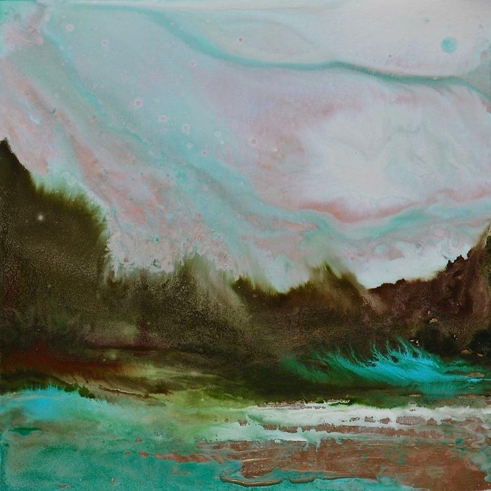 "Riverside Dialogue, Acrylic, 16"" x 16"""