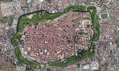 City of Lucca, Italy - aerial view of their downtown.