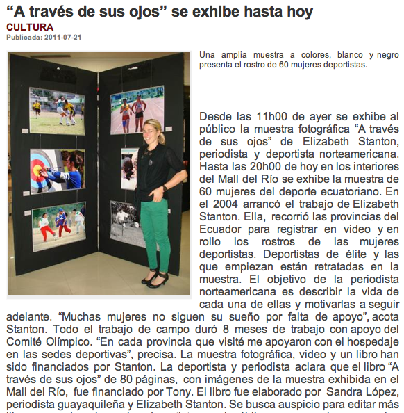 La Tarde newspaper in Cuenca, Ecuador covers local THE THROUGH HER EYES PROJECT exhibit -