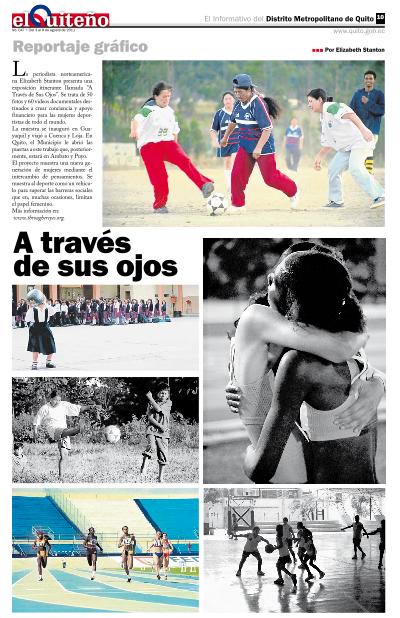 El Quiteño newspaper profiles THE THROUGH HER EYES exhibit in Quito, Ecuador -
