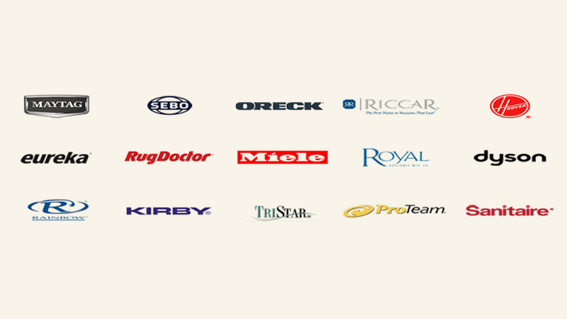 Vacuum Cleaner Brands Everett Vacuum Works With: Maytag logo, Sebo logo, Oreck logo, Riccar logo, Hoover logo, Eureka logo, RugDoctor logo, Miele logo, Royal logo, Dyson logo, Kirby logo, TriStar logo, ProTeam logo, Sanitaire logo