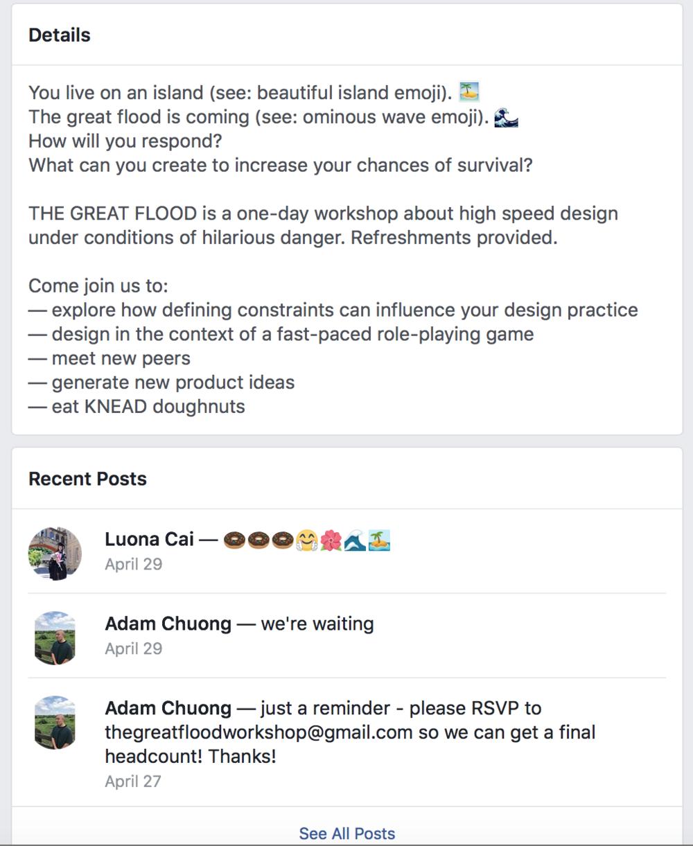 Facebook Event Description