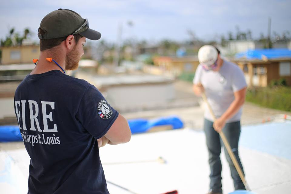 Roof repair in Puerto Rico. Photo credit: Wyatt Berrier