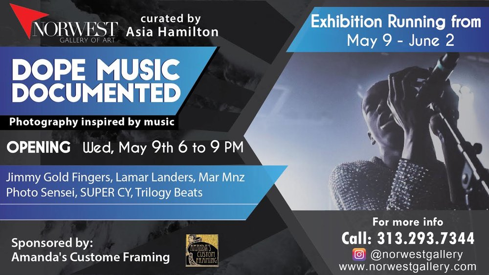 - Dope Music Documented- May 9th- Norwest Gallery of ArtThis collection of visual media with music as it's muse. 6 artists curated by Asia Hamiltion: SUPER CY, Jimmy Gold Fingers, Trilogy Beats, Lamar Landers, Mar Mnz, Photo Sensei. Free to the public, come delight your aesthetic sensibilities