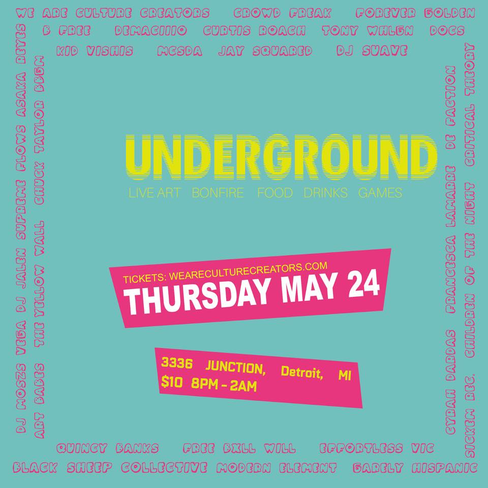 Foundation underground! Kick Off Party - May 24th - 3336 Junction St. - I hope everyone is ready for this weekend! Hosted by CrowdFreak and We Are Culture Creators, this is a great way to start off the weekend early. Boasting over 20 artist slots. Be sure not to miss the Black Sheep Crew while there.