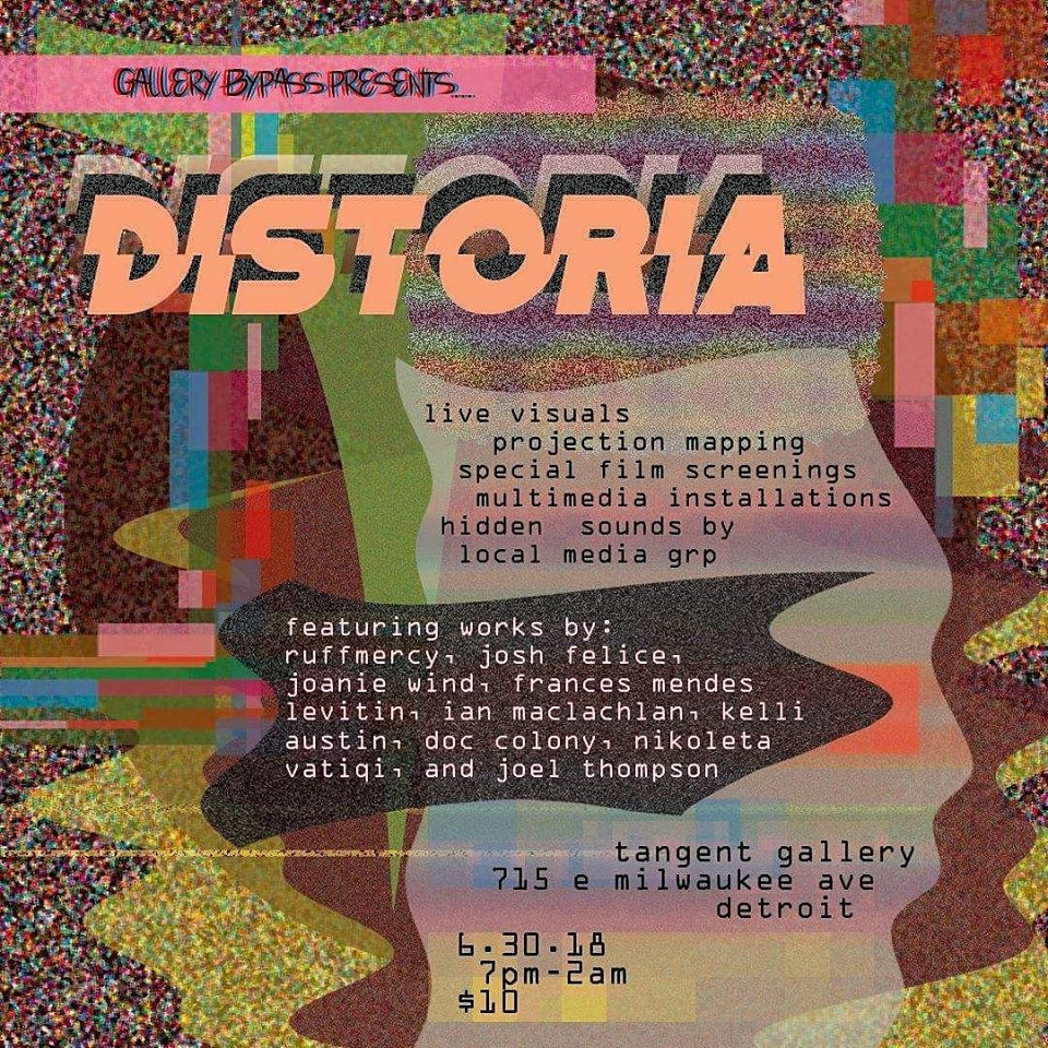 Distoria- June 30th- Tangent Gallery/ Hastings street Ballroom  - Prepare to be amazed and in awe by the highly stimulating talent on display. This artist showcase features multimedia installations, film previews, projection mapping, and live visuals. Featured artists are: Ruffmercy, Josh Felice, Joanie Wind, Frances Mendes Levitin, Ian MacLachlan, Kelli Austin, Doc Colony, Nikoleta Vatiqi, and Joel Thompson with sounds provided by Local Media Group. To learn more about this event, click below.