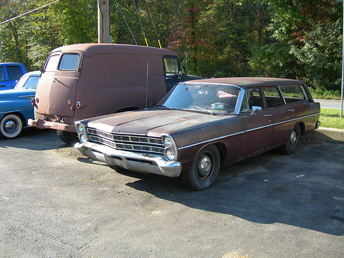 Some of the project vehicles that sit out front of the business would be fun to undertake, like this Ford station wagon.