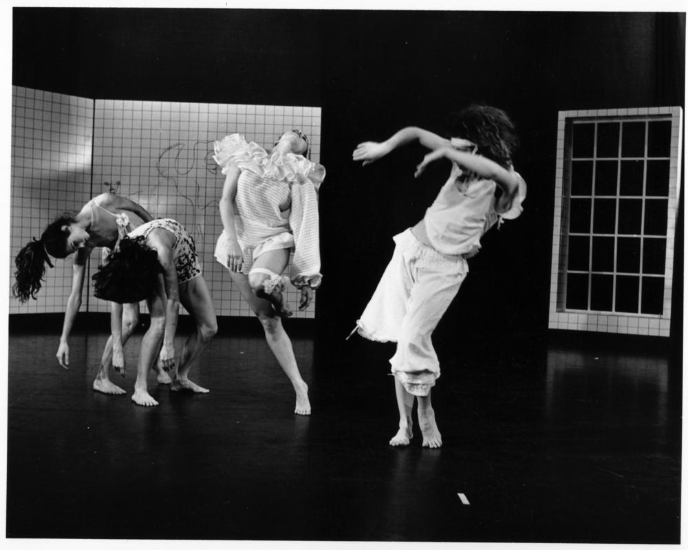 Quartet for Cannibals (1981)  - Set to Wes Wragget's haunting score for accordion and tape, Quartet for Cannibals is a choreographic interpretation of ideas and images from the work of Susan Sontag, particularly her book Illness as Metaphor. Working with four extraordinary dancers (Wendy Chiles, Roberta Mohler, Claudia Moore, Jeannie Teillet) I investigated the pathology, sociology and mythology of four diseases, each emblematic of its era: hysteria, cholera, consumption, and cancer. Together we created a dark and strange dance with currents of absurd humour flowing throughout.  Initially presented in a festival of 10 Toronto Independent Choreographers produced by Pavlychenko Studio (Kathryn Brown & Susan Cash, Artistic Directors), Quartet for Cannibals was a favourite with audiences and critics.  Also in this historic festival at Nathan Cohen Theatre, YPT, were Anna Blewchamp, Kathryn Brown, Susan Cash, Murrary Darroch, Nancy Ferguson, Gabby Micelli (Kamino), Susan McNaughton, Claudia Moore and David Wood. Photographer: Dave Davis