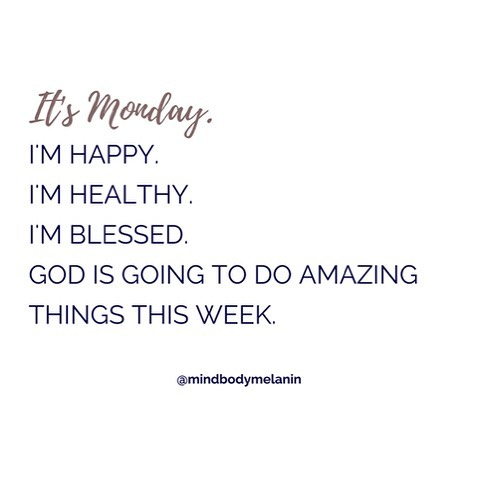 ✨Happy Monday!✨ Start your week off with gratitude and watch God work. 😊 #happymonday #mondaymotivation #monday #goodmorning #newweek #motivationalquotes #lawofattraction #positivevibes #prayer #faith #trustgod #selfcare #mindfulness #mindbodysoul #blessed #happiness #blackgirlhappiness #blackgirlmagic #melaningirlwellness #blackqueen #girlboss #mindbodymelanin
