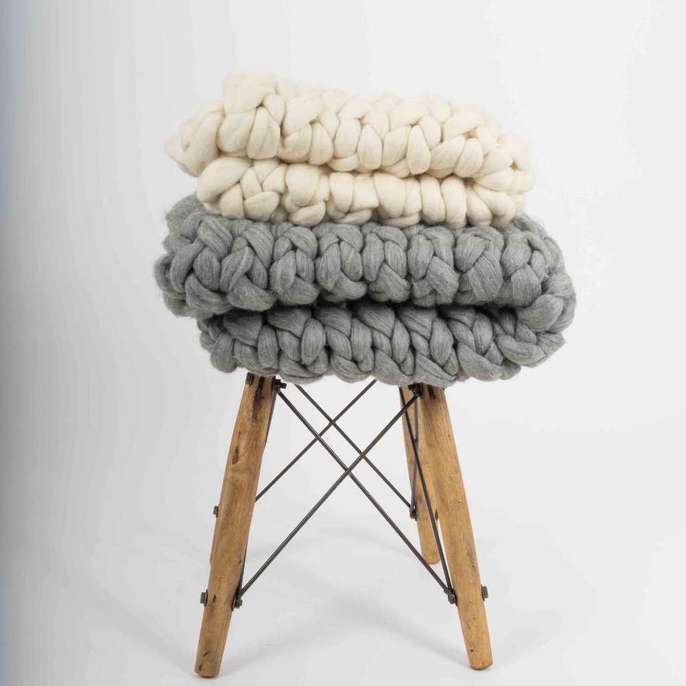 custom made jumbo knit throws - CHOOSE A SIZE, CHOOSE A STITCH AND CHOOSE FROM OVER 90 COLOURS