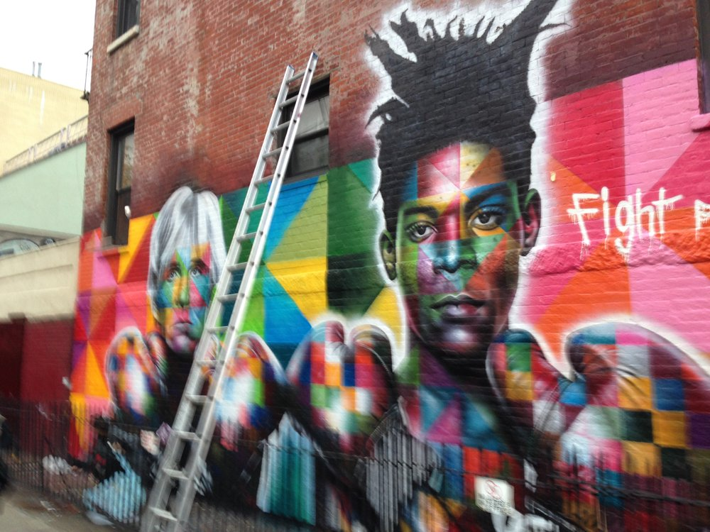 Warhol and Basquiat mural on Bedford Avenue in Williamsburg.