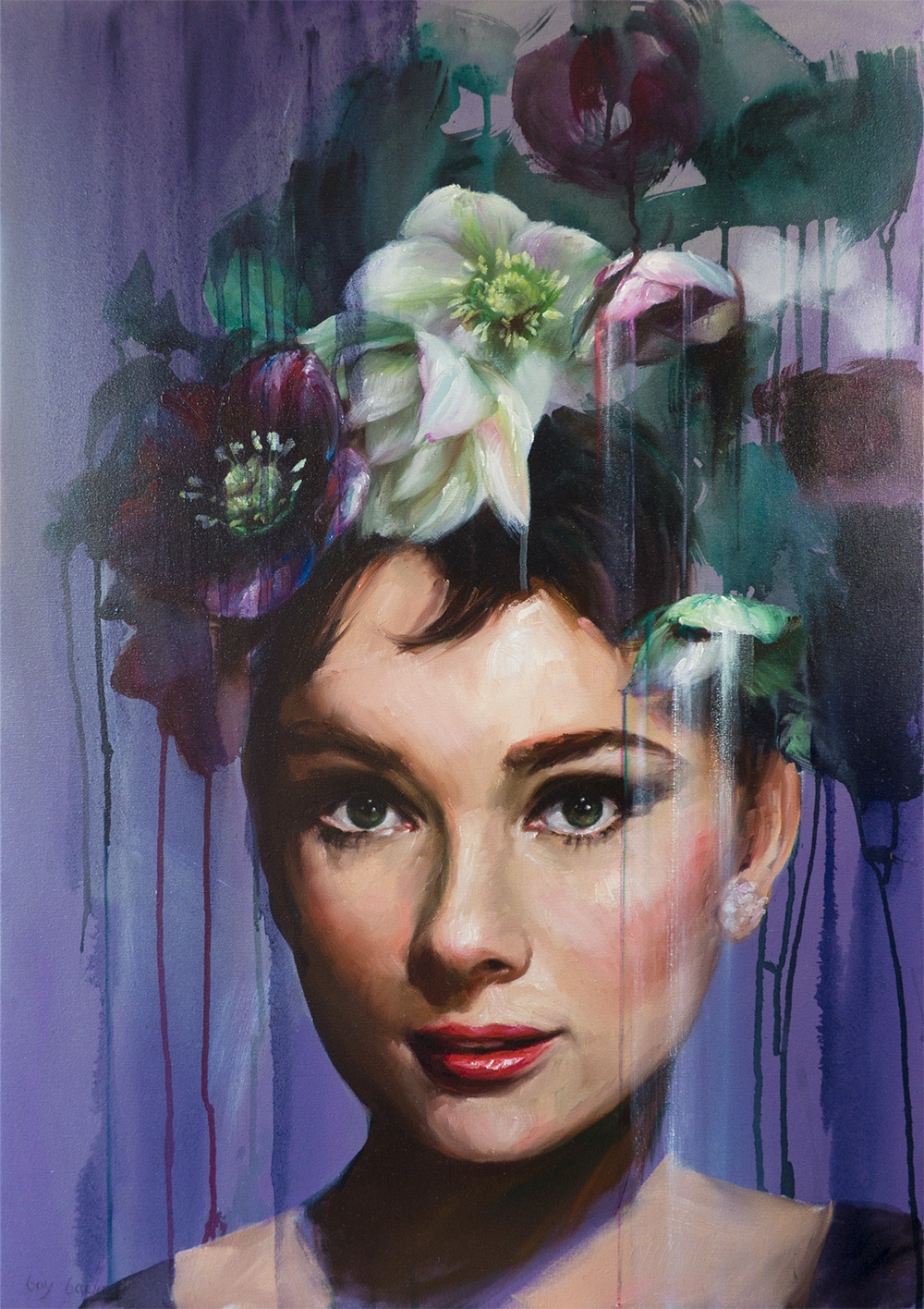 'Audrey in Purple', oil on canvas, Bay Backner 2017